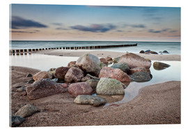 Acrylic print  Stones and groynes on shore of the Baltic Sea. - Rico Ködder