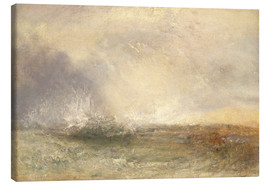 Canvas print  Stormy sea breaking on a shore - Joseph Mallord William Turner