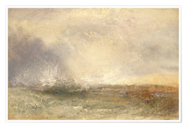 Premium poster  Stormy sea breaking on a shore - Joseph Mallord William Turner