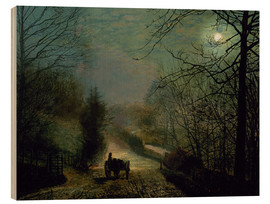 Wood print  Forge Valley - John Atkinson Grimshaw