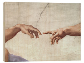 Wood print  The creation of Adam (detail) - Michelangelo