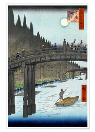 Premium poster Kyoto bridge by moonlight