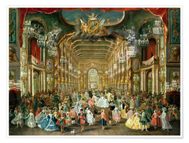 Premium poster  Masked ball in the court theater - Jakob Rousseau