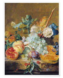 Premium poster  Flowers and fruits - Jan van Huysum