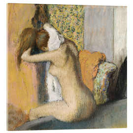 Acrylic print  Woman after bath dries her neck - Edgar Degas