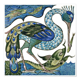 Premium poster  Heron and Fish - Walter Crane