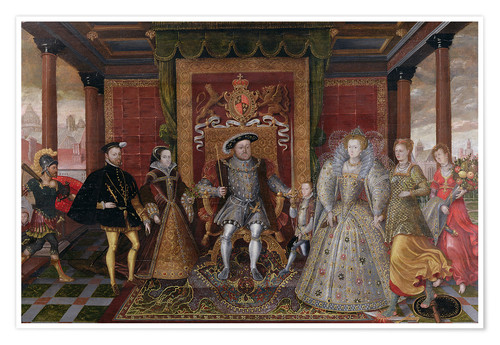 Premium poster An Allegory of the Tudor Succession: The Family of Henry VIII