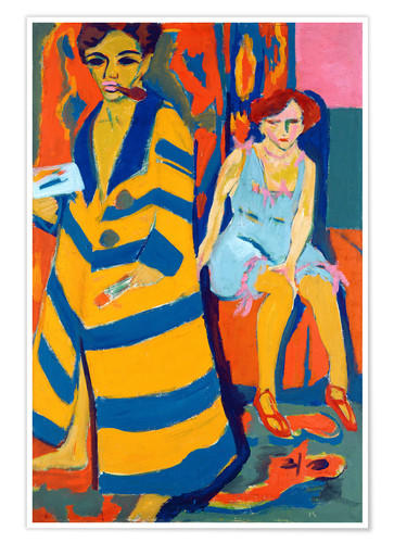 Premium poster Ernst Ludwig Kirchner with a Model