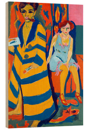Wood print  Self Portrait with a Model - Ernst Ludwig Kirchner