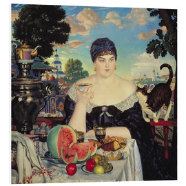 Foam board print  The Merchant's Wife at Tea - Boris Mihajlovic Kustodiev