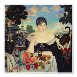 Poster  The Merchant's Wife at Tea - Boris Mihajlovic Kustodiev