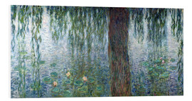 Foam board print  Waterlilies: Morning with Weeping Willows (detail) - Claude Monet