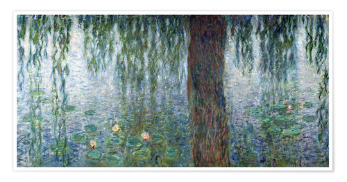 Premium poster Waterlilies: Morning with Weeping Willows (detail)