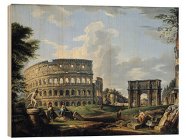 Wood print  The Coliseum and the Arch of Constantine - Giovanni Paolo Pannini
