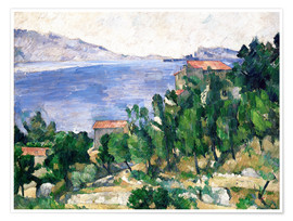 Poster  View of Mount Marseilleveyre and the Isle of Maire - Paul Cézanne