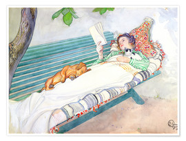 Premium poster  Woman lying on a bench - Carl Larsson