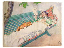 Wood  Woman lying on a bench - Carl Larsson