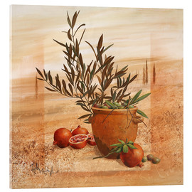 Acrylic glass  Pomegranate and olive harvest - Franz Heigl