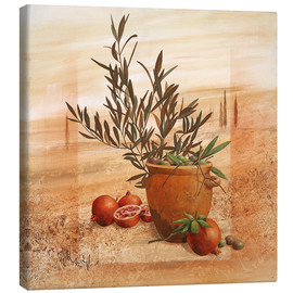Canvas  Pomegranate and olive harvest - Franz Heigl