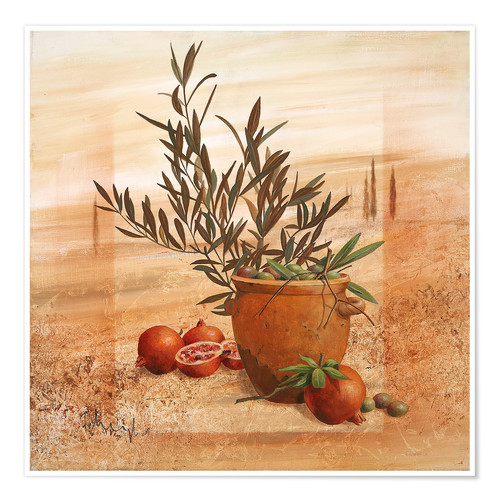 Poster Pomegranate and olive harvest
