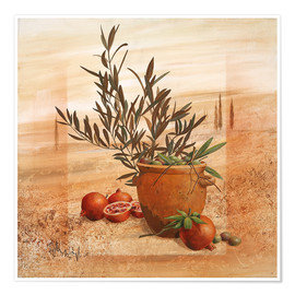 Premium poster  Pomegranate and olive harvest - Franz Heigl