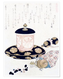 Poster  A Pot of Tea and Keys - Katsushika Hokusai