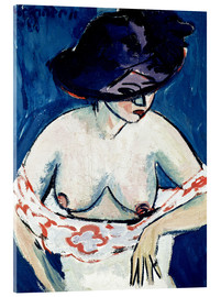 Acrylic glass  Half-Naked Woman with a Hat - Ernst Ludwig Kirchner