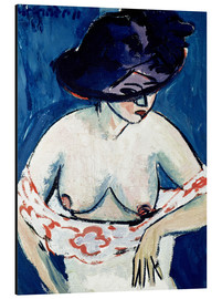 Aluminium print  Half-naked woman with a hat - Ernst Ludwig Kirchner