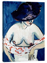 Canvas  Half-Naked Woman with a Hat - Ernst Ludwig Kirchner