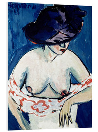 Foam board print  Half-Naked Woman with a Hat - Ernst Ludwig Kirchner