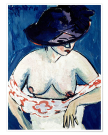 Premium poster  Half-Naked Woman with a Hat - Ernst Ludwig Kirchner