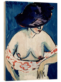 Wood print  Half-naked woman with a hat - Ernst Ludwig Kirchner