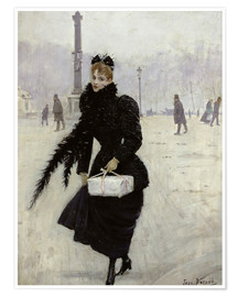 Premium poster Parisian woman in the Place de la Concorde