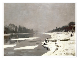 Premium poster Ice floes on the Seine at Bougival
