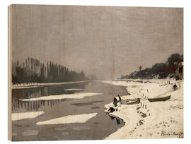 Wood print  Ice floes on the Seine at Bougival - Claude Monet