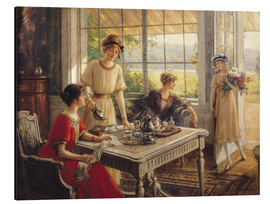 Aluminium print  Women Taking Tea - Albert Lynch
