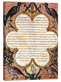 Canvas print  Page from a Hebrew Bible with birds - Joseph Asarfati