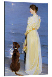 Aluminium print  Summer Evening at Skagen. The Artist's Wife and Dog by the Shore - Peder Severin Krøyer