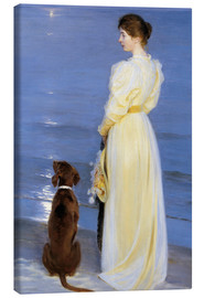 Canvas  Summer Evening at Skagen. The Artist's Wife and Dog by the Shore - Peder Severin Krøyer