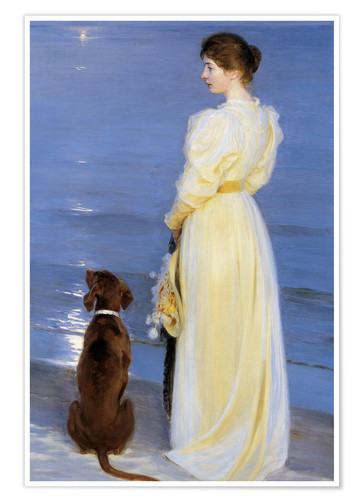 Premium poster Summer Evening at Skagen. The Artist's Wife and Dog by the Shore