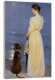 Wood print  Summer Evening at Skagen. The Artist's Wife and Dog by the Shore - Peder Severin Krøyer
