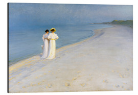 Alu-Dibond  Summer Evening on the Skagen Southern Beach with Anna Ancher and Marie Kroyer - Peder Severin Kroyer