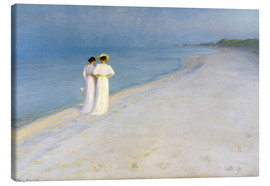 Canvas  Summer Evening on the Skagen Southern Beach with Anna Ancher and Marie Kroyer - Peder Severin Kroyer