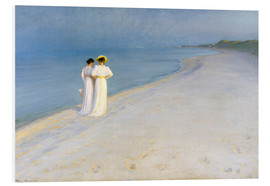 Foam board print  Summer Evening on the Skagen Southern Beach with Anna Ancher and Marie Kroyer - Peder Severin Krøyer