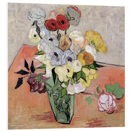 Foam board print  Roses and Anemones - Vincent van Gogh