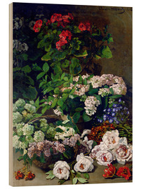 Wood print  Spring Flowers - Claude Monet