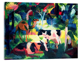 Acrylic print  Landscape with Cows and a Camel - August Macke