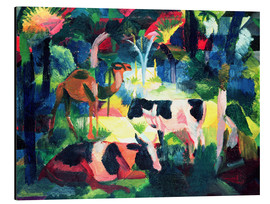 Aluminium print  Landscape with Cows and a Camel - August Macke