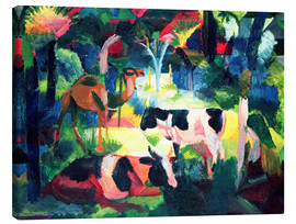 Canvas print  Landscape with Cows and a Camel - August Macke