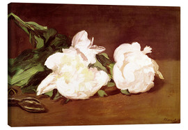 Canvas  Branch of White Peonies and Secateurs - Edouard Manet
